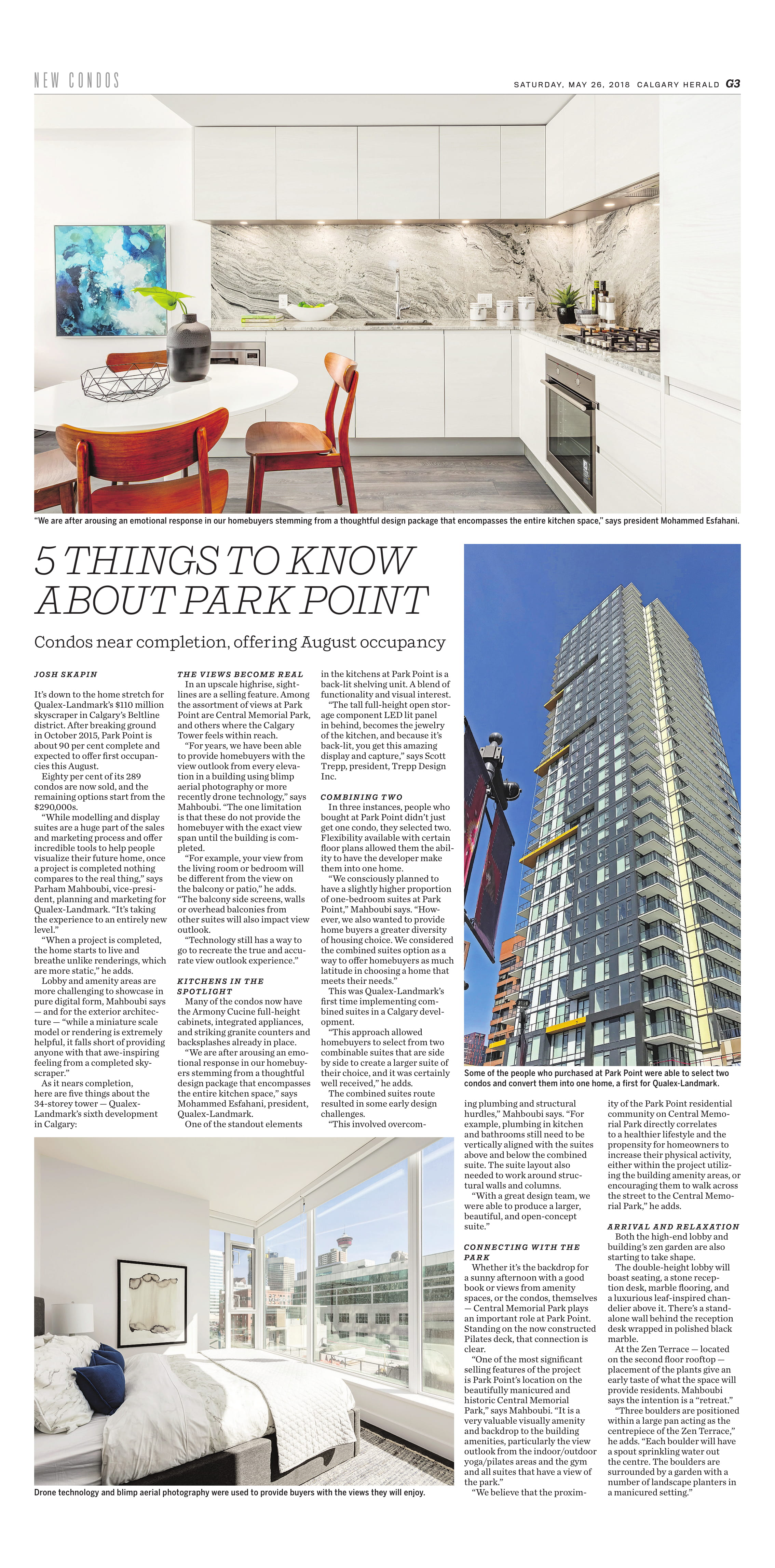 Calgary Herald on Park Point Beltline Condos